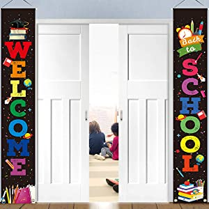 Back to School Banner Welcome Banner for First Day of School Hanging Fabric Banners Flags Sign Backdrop Décor Supplies for Pre-School Primary High School Classroom Decorations