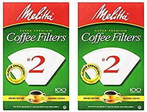 Melitta 6 cups White Cone Coffee Filter 100 pk (pack of 2)