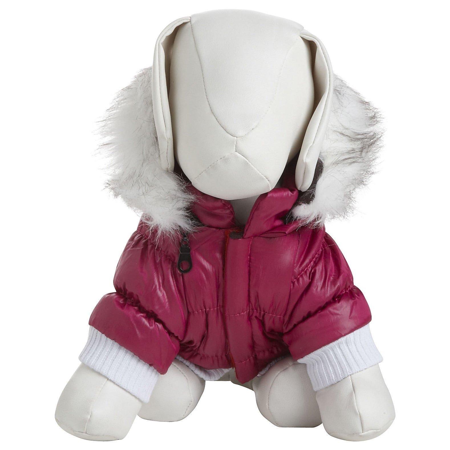Pet Life Fashion Parka with Removable Hood - Pink Metallic - Medium