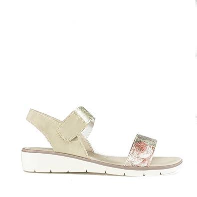 40fb7c984 Dr Keller Jazzy Ladies Touch Fasten Wedge Sandals Gold UK 8  Amazon ...