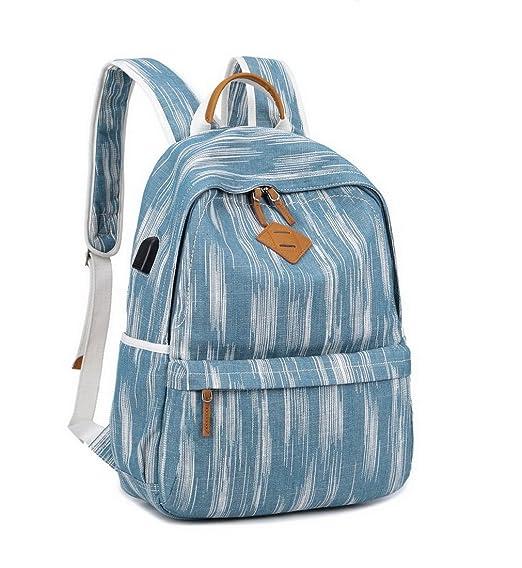 """Amazon.com: Acmebon Unisex Vintage Canvas Backpack with USB Charge Port Fashion 15.6"""" Laptop Rucksack Retro Blue: AcmebonDirect"""