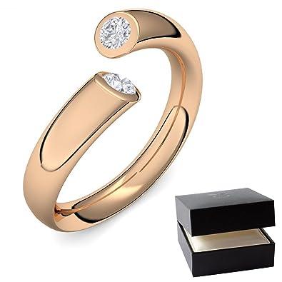 Diamantringe rosegold  Rosegold Ring Diamant 585 + inkl. Luxusetui + Diamant Ring ...
