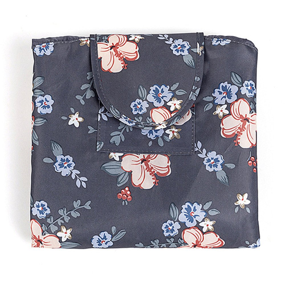 Fashion Cosmetic Bag Large Capacity Lazy Makeup Waterproof Toiletry Bag Multifunction Storage Portable Quick Pack Travel Bag (Dark Grey Flowers) by VOJUAN (Image #2)