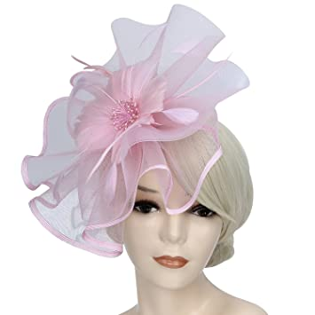 9938df6c Discoball Fascinators Hat Feather Mesh Net Veil Flower Sinamay Feather  Headband Cocktail Tea Party Headwear with