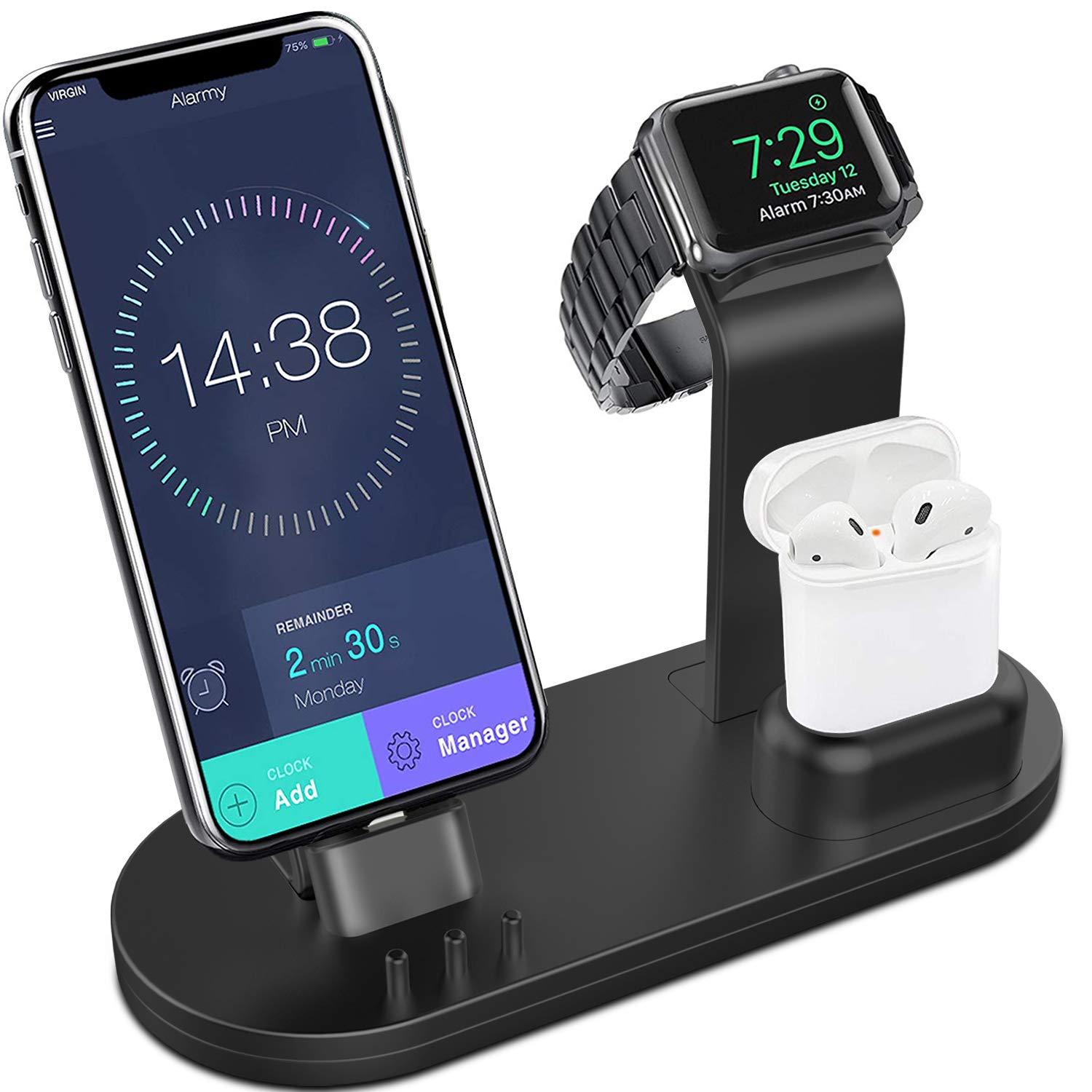 Yestan 3 in 1 Charging Stand Compatible for iWatch Series 4/3/2/1, AirPods and iPhone Xs/X Max/XR/X/8/8Plus/7/7 Plus /6S /6S Plus/9.7 inches iPad (Original Charger & Cables Required) -Black