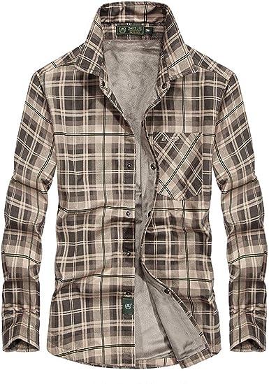 Hombres Blusa, Camisa de Tela Escocesa Ocasional más de Terciopelo de una Sola Pieza Caliente Camisa: Amazon.es: Ropa y accesorios