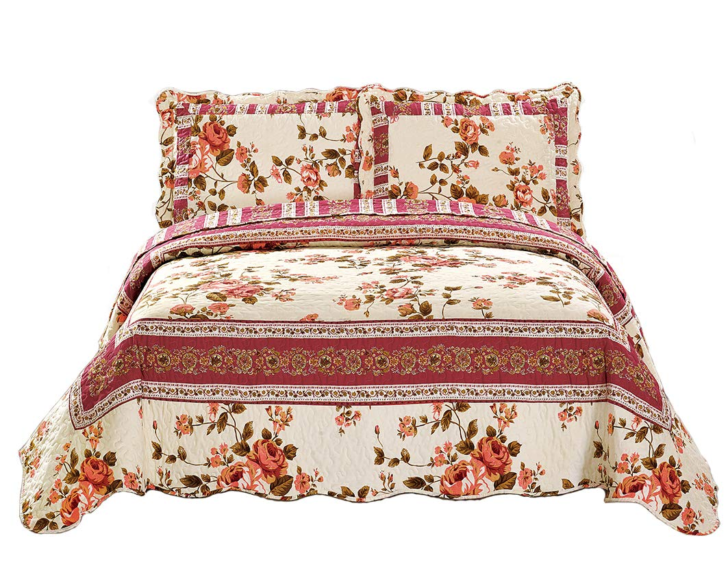 Linen Plus Full//Queen 3pc Over Size Quilted Bedspread Set Reversible Floral Patchwork Pink Beige New