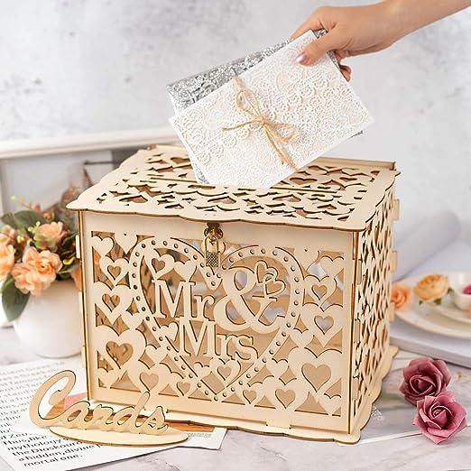 Caja rústica para tarjetas de boda con candado de madera, con forma de corazón hueco, caja de regalo y tarjeta para bodas, recepción, baby shower, cumpleaños, graduaciones, decoración de fiesta: Amazon.es: Hogar