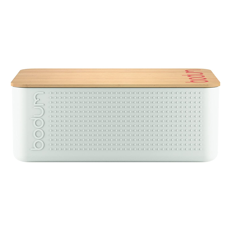 BODUM 11740-01 BISTRO bread box small bread box, plastic, wood, black, 19.39 x 29.4 x 10.7 cm, plastic, wood, White, 19.399999999999999 x 29.4 x 10.7 cm 11740-913