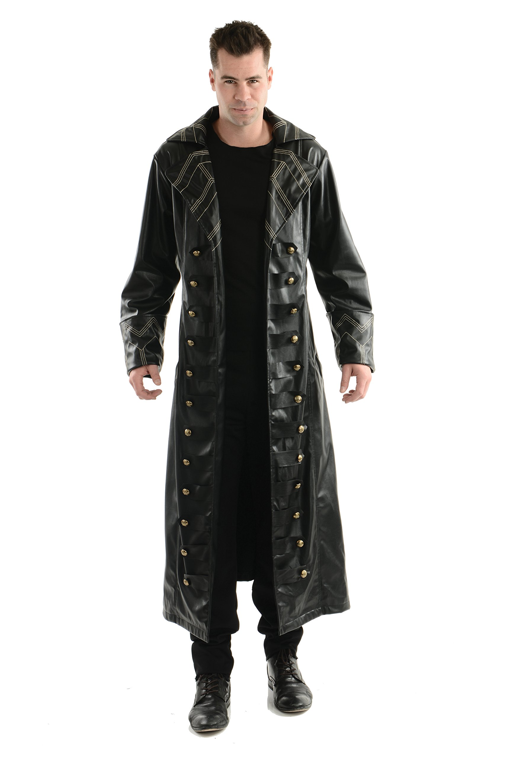 Charades Men's Pirate Trench Coat, Black, Medium