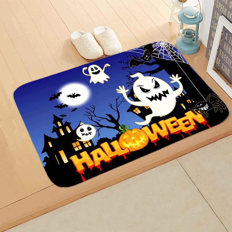 Color 1 Mudder Halloween Theme Pumpkin Entry Carpet Bathroom Kitchen Anti-Slip Floor Mats Doormats Halloween Home Decoration Mat Halloween Doormat 23.6 x 15.7 Inch