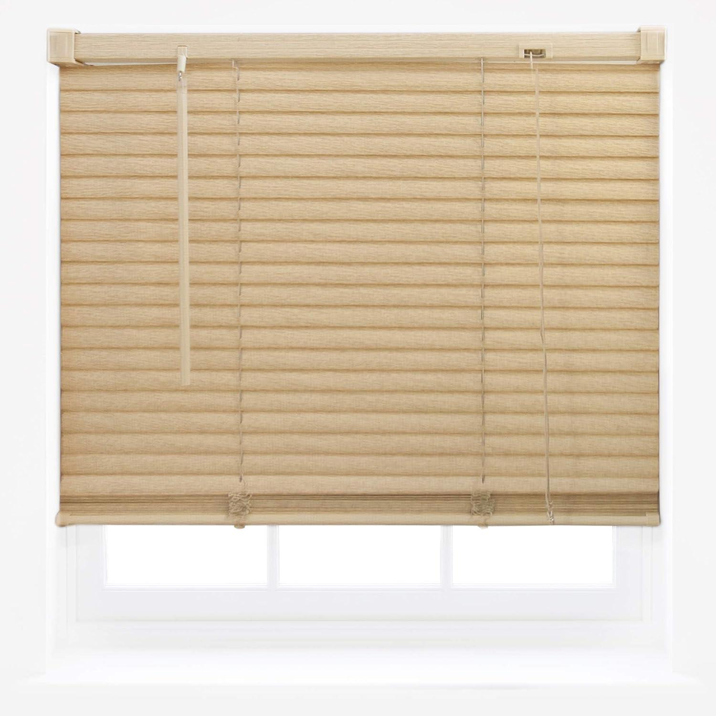 Tenda alla veneziana per finestra, in PVC effetto legno, regolabile, per casa o ufficio, plastica, Natural, 45cm x 150cm Furnished