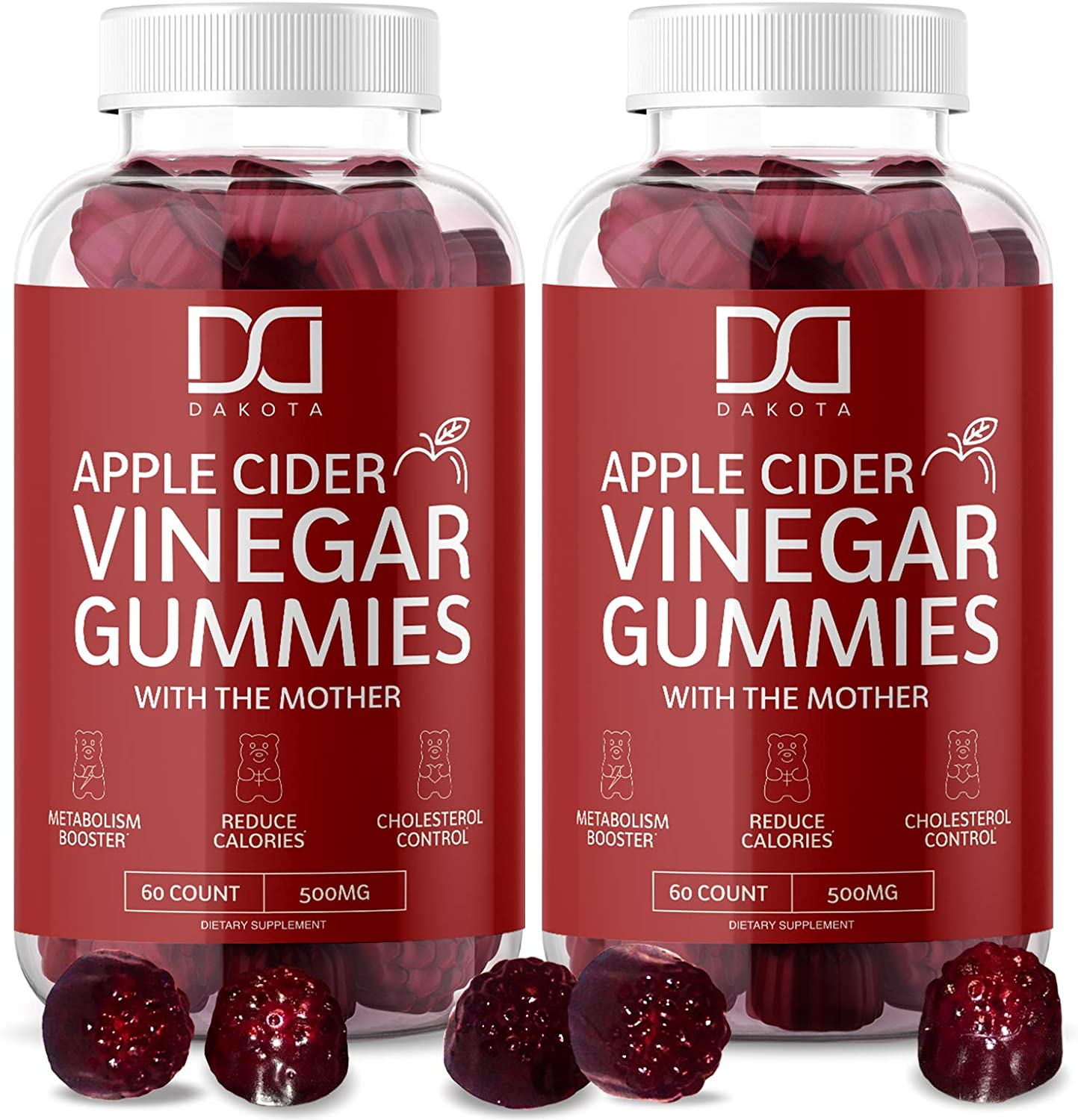 Apple Cider Vinegar Gummies with The Mother for Immune System Vitamin B12, B9, Pomegranate - Gummy Alternative to Apple Cider Vinegar Capsules, Pills, ACV Tablets - 120 Gummy Bears (2 Pack): Health & Personal Care