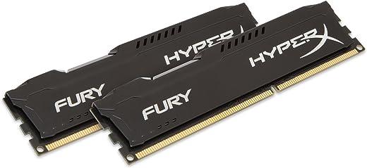 مجموعة ذاكرة رام (ذاكرة عشوائية) 16 جيجابايت DDR3 بسرعة 1866 ميجاهيرتز هايبر إكس فيوري من كِنجستون (2×8 جيجابايت) CL10 DIMM - لون اسود (HX318C10FBK2/16)