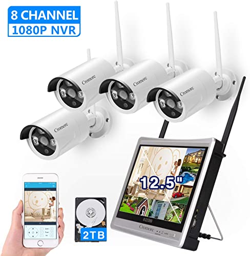 8CH,Expandable All in one with 12.5 Monitor Wireless Security Camera System, Cromorc Home Business CCTV Surveillance 8CH 1080P NVR, 4pcs 1.3MP 960P Outdoor Indoor Night Vision Camera, 2TB Hard Drive