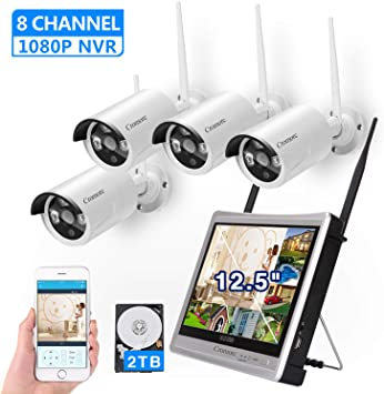 """Wireless Security Camera System 8CH 1TB HD 12/""""Monitor Home Surveillance DVR kit"""