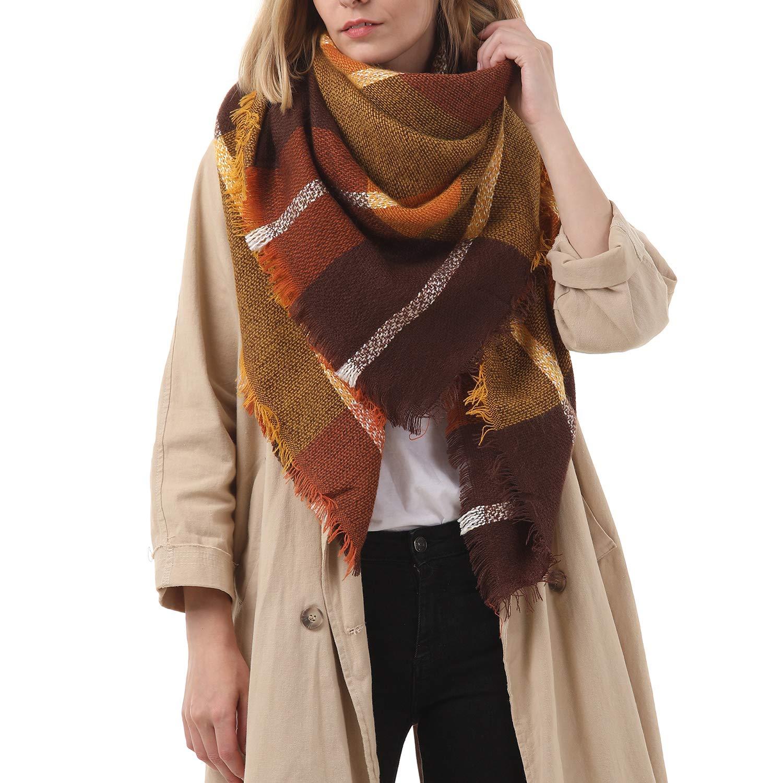 Zando Plaid Blanket Thick Winter Scarf Tartan Chunky Wrap Oversized Shawl Cape