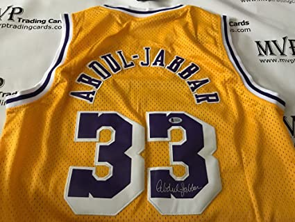 9e056bd6723 Image Unavailable. Image not available for. Color  Beckett Authentic Kareem Abdul  Jabbar Autograph Throwback LA Lakers Jersey