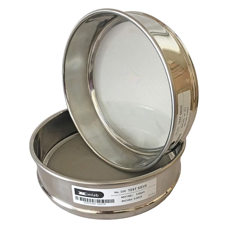 KimLab ISO3310 STD Test Sieve #200 75/μm Mesh Size,All Stainless Steel,200mm Diameter