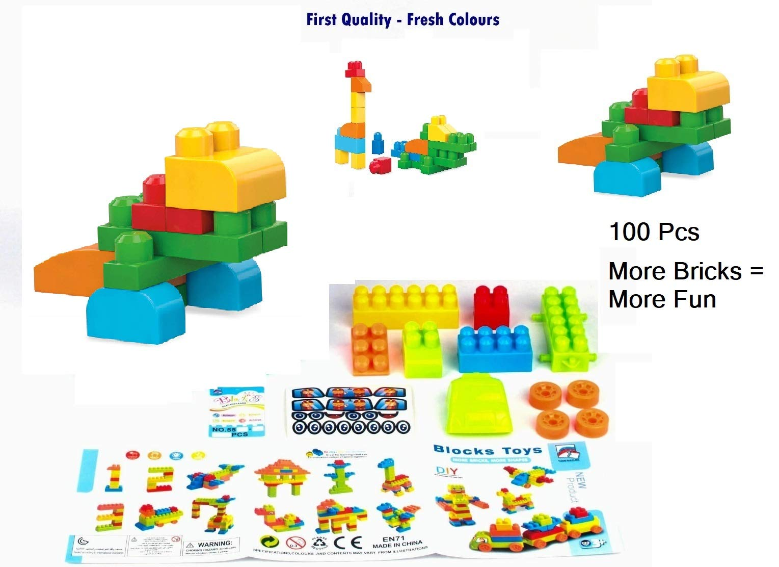 100 Marvel Trading Company Inc Assorted Color And Shape Interlocking Connecting Bricks Blocks