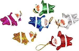 6pcs Multicolor Mini Santa Claus Doll Pendant Hanging Ornaments for Christmas Tree Decorations