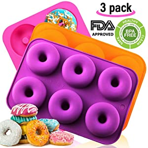 Silicone Donut Baking Pan, Non-Stick Donut Mold, Dishwasher, Oven, Microwave, Freezer Safe,BPA_free,Bake Full Size Perfect Shaped Doughnuts by Amison (3 pack)