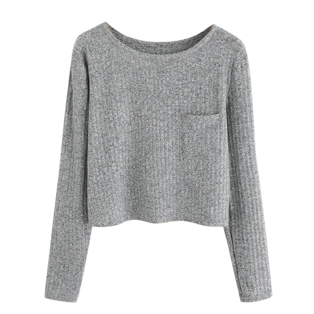 Women's Loose Long Sleeve O Neck Crop T-Shirt Tops Blouse Sweatshirt Pullover Pocket (Gray, M)