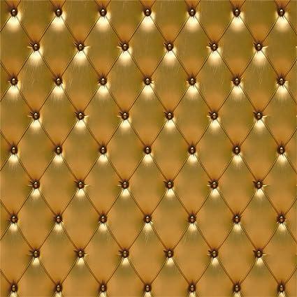 Leowefowa 6X6FT Headboard Backdrop Fancy Golden Leather Wallpaper Interior Decoration Vinyl Photography Background Kids Children Adults