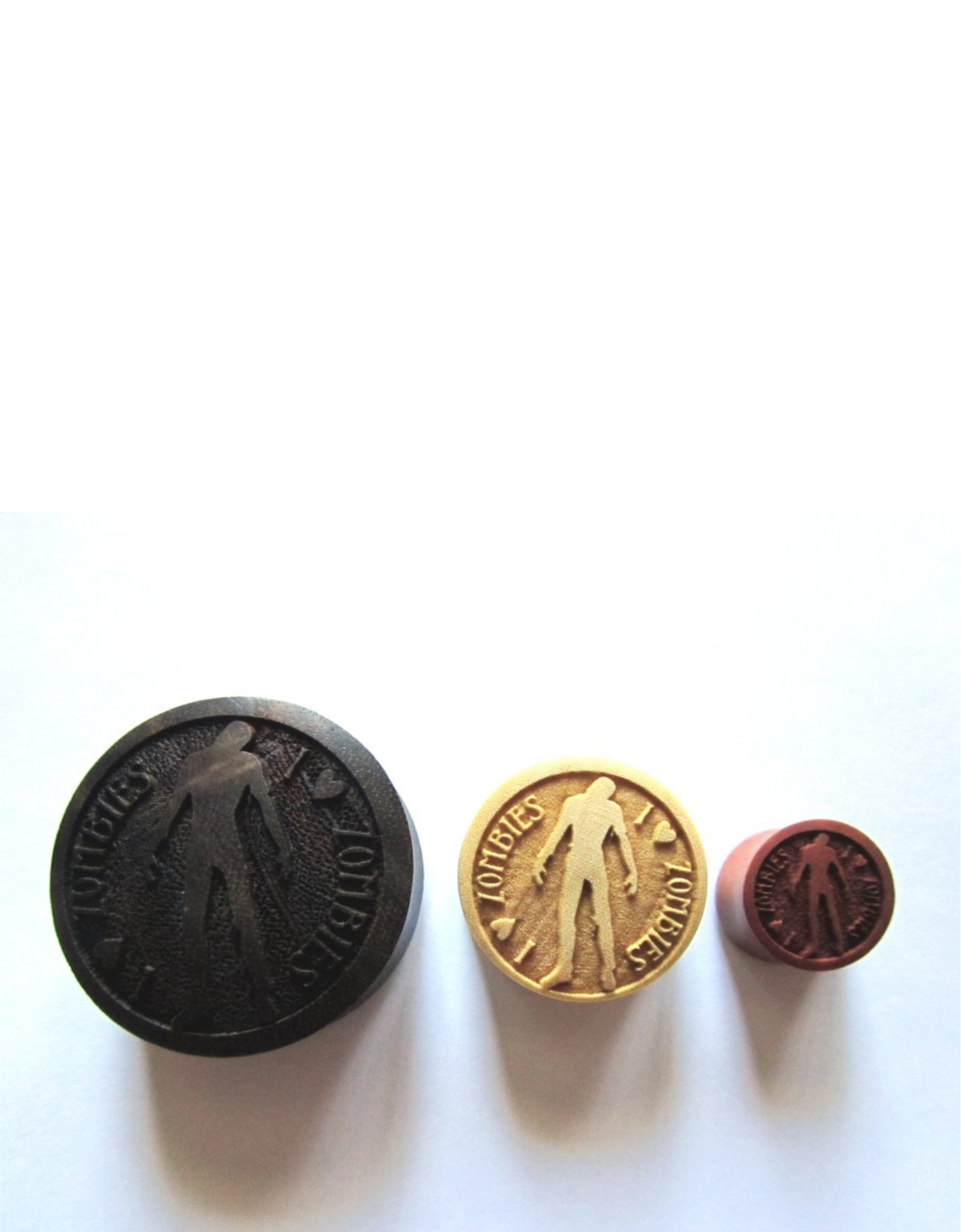 100% Handmade ''I LOVE Zombies'' Organic Wood Plugs - You Choose Color/Type of Wood and Size 7/16'' - 30mm