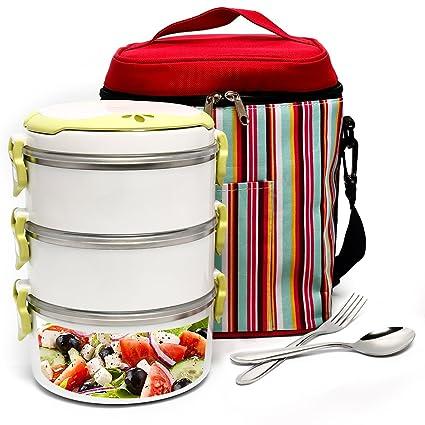 Amazoncom BOQUN 3 Layer HeatCold Insulated Lunch Box Portable