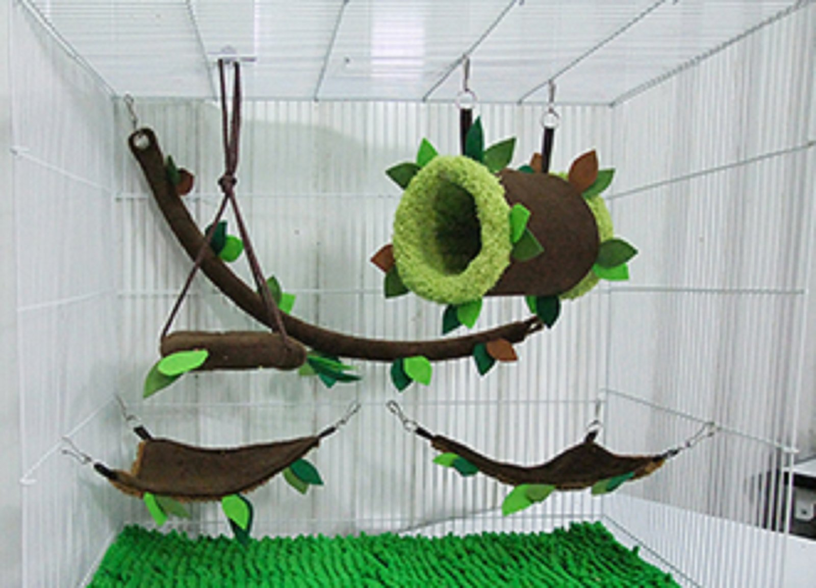 Hot Sale! 5 piece KPS Cute Sugar Glider Hamster Squirrel Small Pet Cage Set Forest Pattern, Polar Bear's Republic