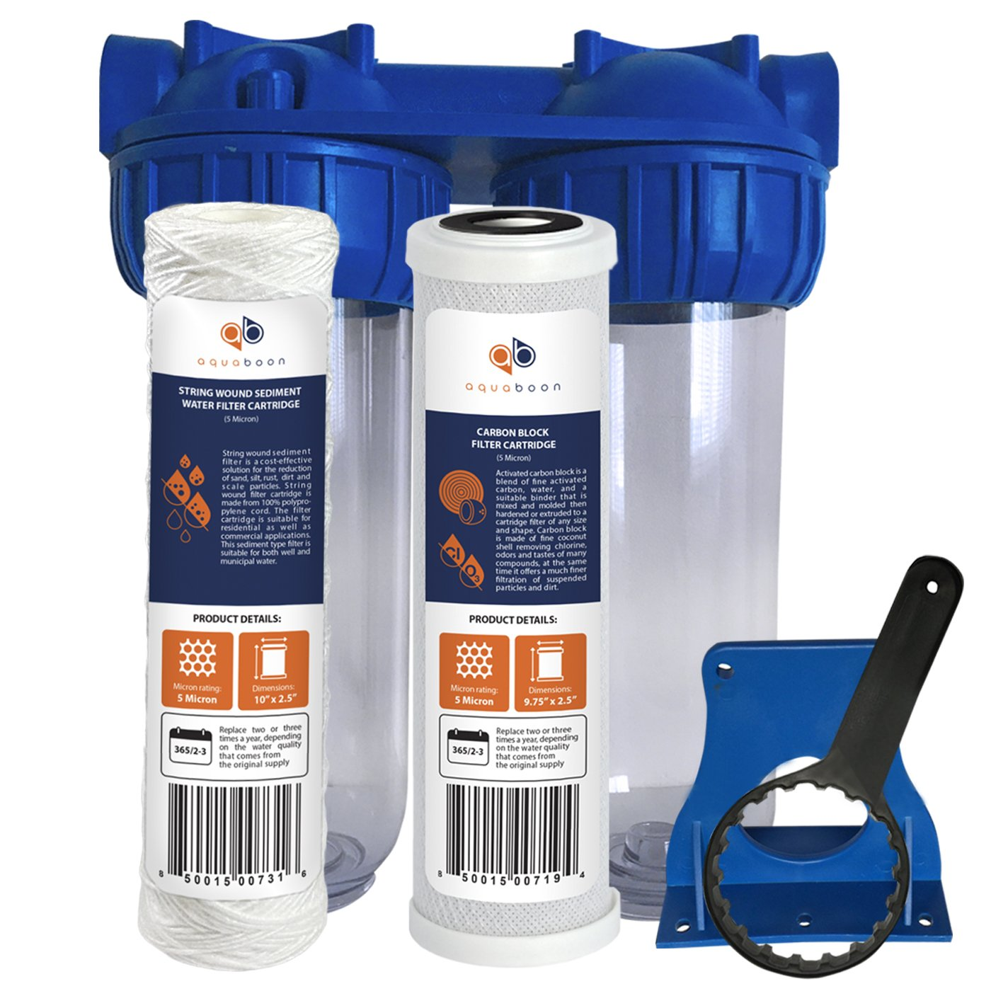 """Aquaboon 2-Stage Universal 10'' Valve-in-Head Whole House Water Filtration System, Includes String Wound Sediment & Coconut Shell Carbon Filter Cartridges (3/4"""" Inlet/Outlet Brass Port)"""