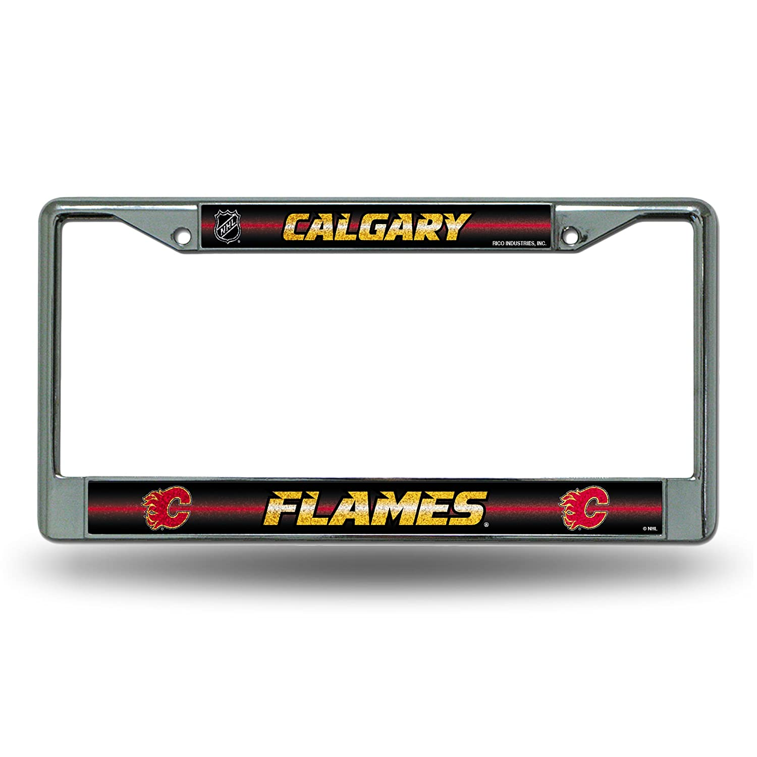 NHL Bling Chrome License Plate Frame with Glitter Accent Rico Industries Inc FCGL6901