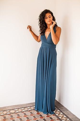 Amazon.com: Indigo blue bridesmaid dress, denim blue long bridesmaid dress, riverside blue infinity dress, long blue dress, blue bridemaid dresses: Handmade