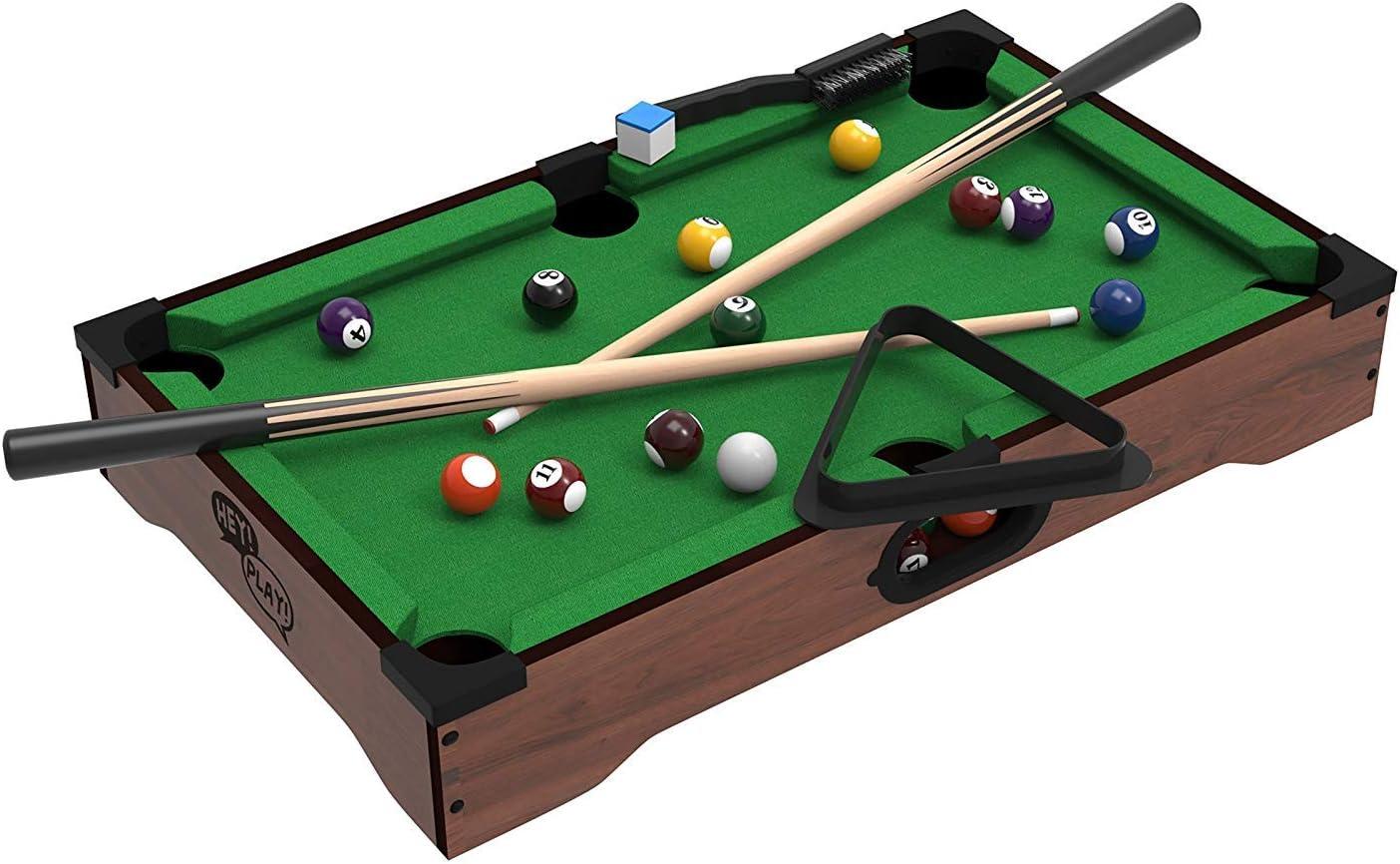 Hey - Juego de mesa para billar (incluye pelotas de juego, palos ...
