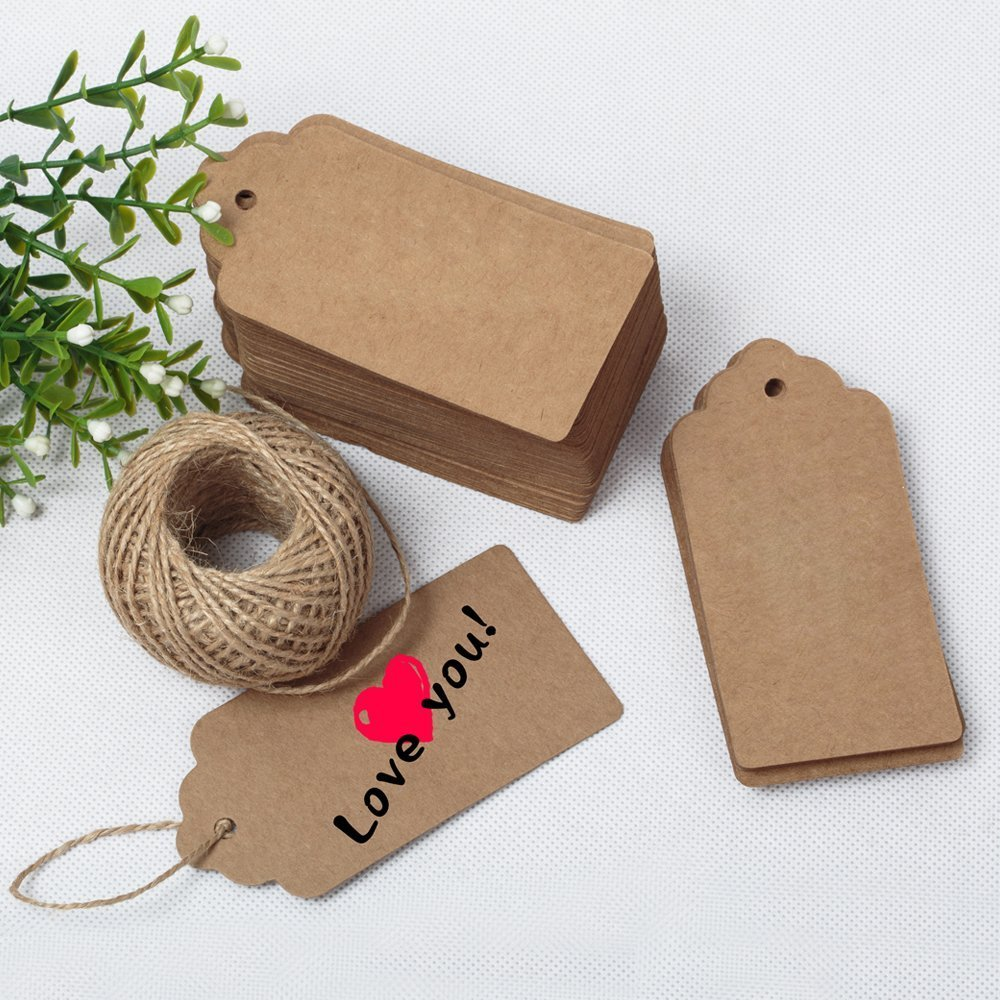 G2plus 100 pcs kraft gift tags 5 cm 10 cm blank label paper g2plus 100 pcs kraft gift tags 5 cm 10 cm blank label paper wedding labels birthday luggage tags brown hang tag with 30 meters jute twine brown jeuxipadfo Choice Image