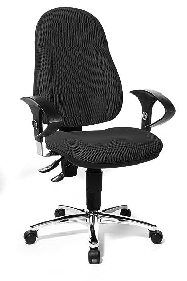 Topstar Wellpoint 10 Deluxe, ergonomischer Bürostuhl, Schreibtischstuhl, Muldensitz, inkl. höhenverstellbare Armlehnen, Stoff