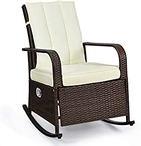 Tangkula Outdoor Wicker Rocking, Modern Cushioned Seating and Back, Auto Adjustable Rattan Reclining Chair, Space Saving Design, Garden Lawn Balcony Backyard Patio Fu, Brown