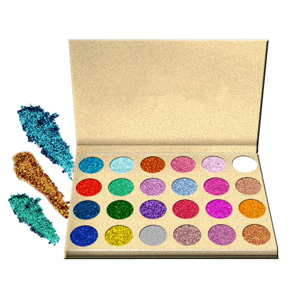 SUNTRIC 24 Color Highly Pigmented Diamond Glitter Rainbow Eye Shadow Palette Flash Shimmer Eyeshadow Make Up Palette