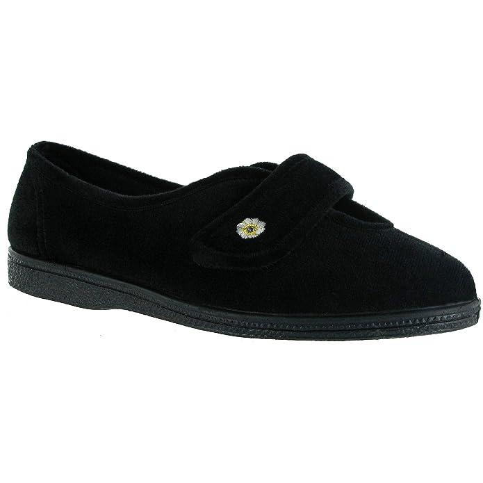 Comfylux Stella Damen Hausschuhe/Pantoffeln mit Klettverschluss, Besonders Weite Passform (40 EUR) (Schwarz)