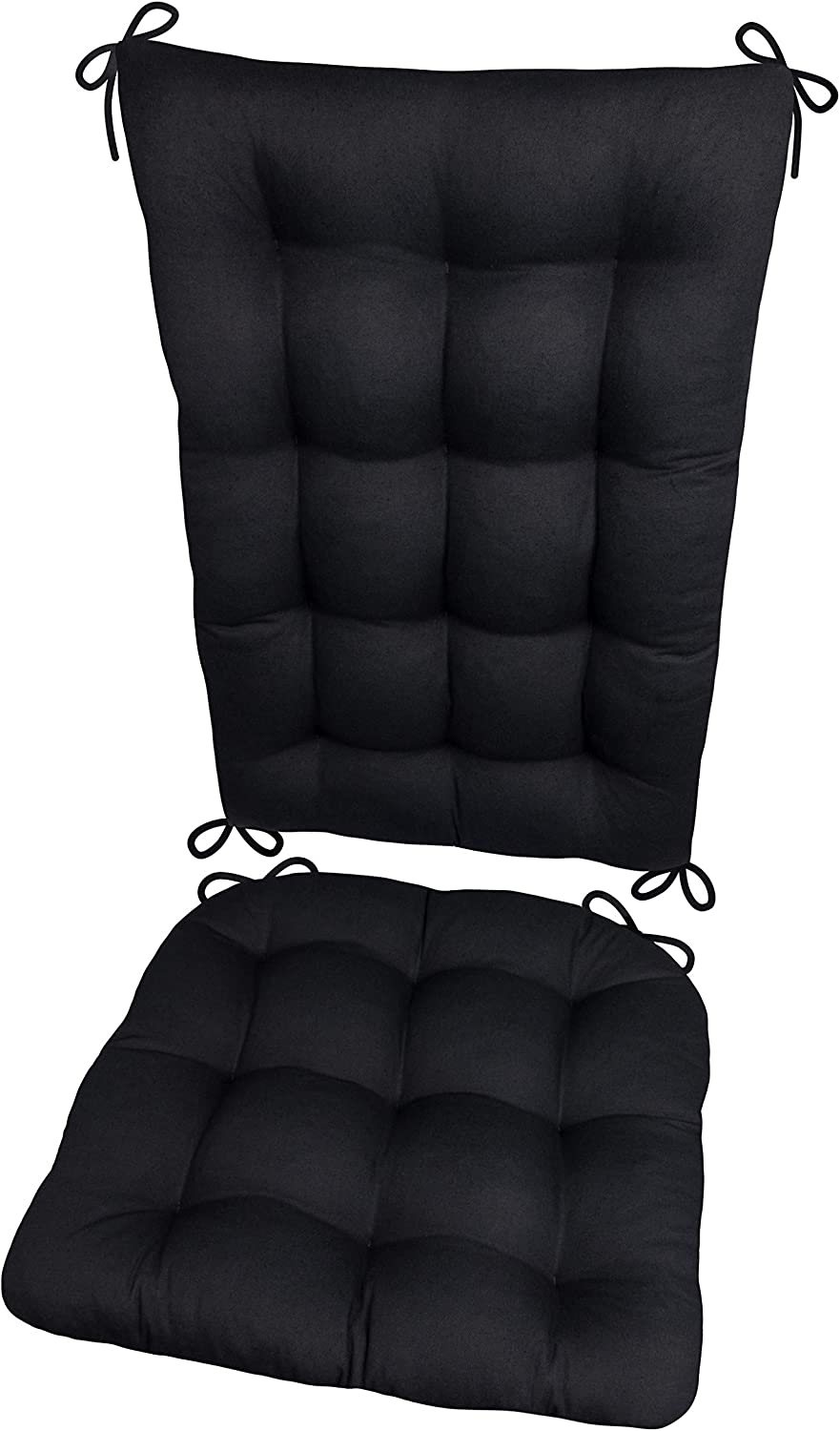 Barnett Home Decor Ticking Stripe Black Rocking Chair Cushions Presidential//Black - Natural Extra-Large Seat Pad and Back Rest with Ties- Reversible Made in USA Latex Foam Fill