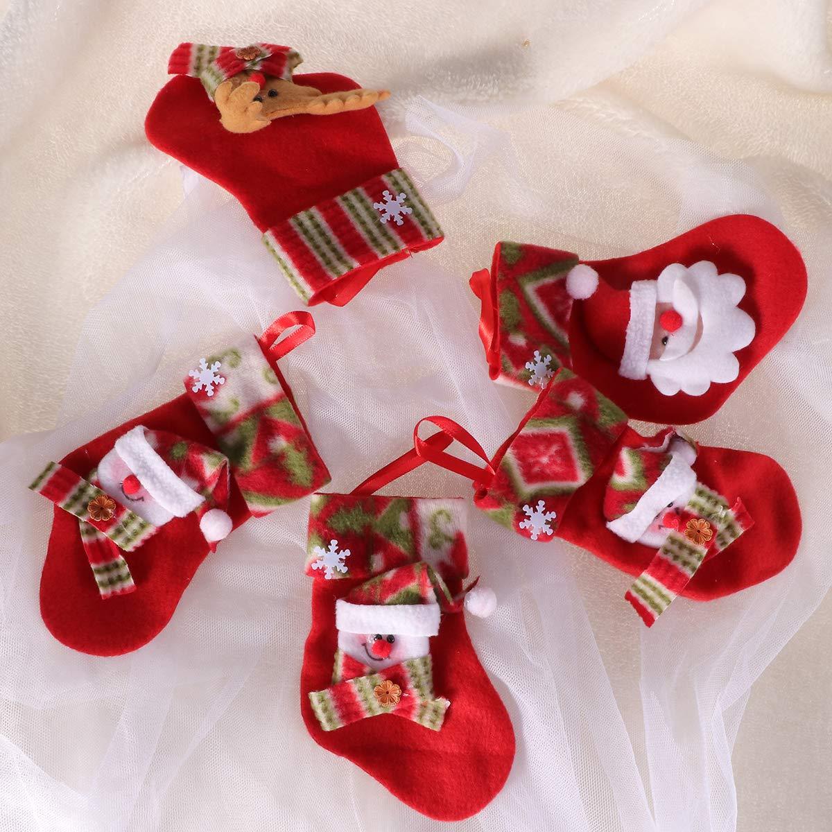 VORCOOL Mini Calcetines de Navidad Árbol de Navidad Chimenea Colgando Dulces Regalos Bolsas Favores de Fiesta Suministros Color Aleatorio Paquete de 12: ...