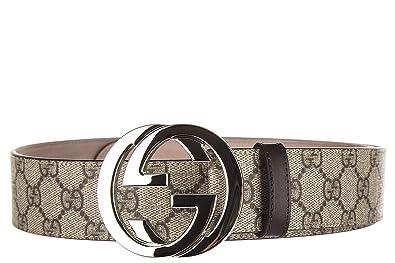 miglior servizio 30fda 6b2cd Gucci cintura uomo vera pelle nuova originale beige: Amazon.it ...