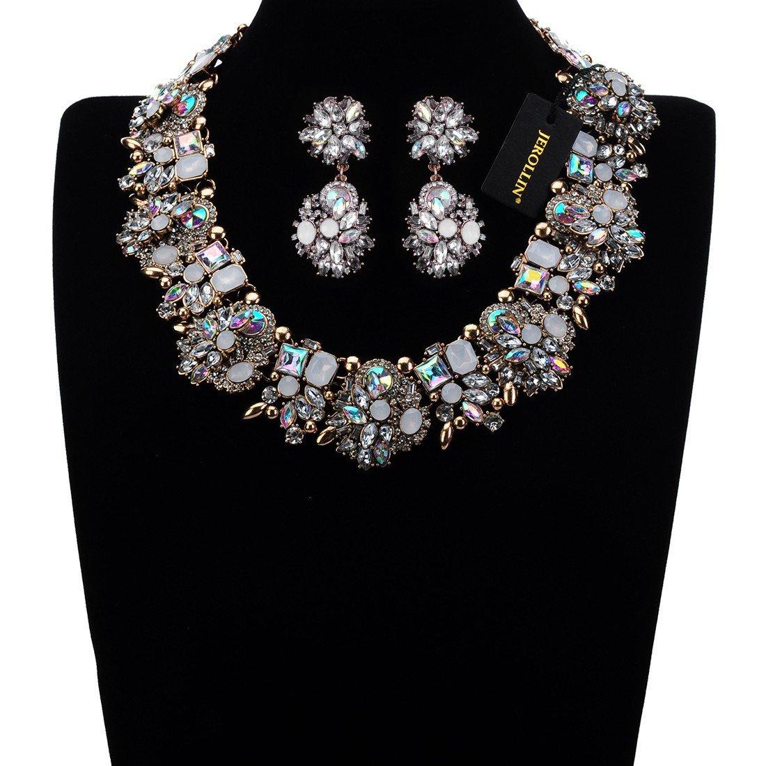 cristallo multicolore Collana donna fantasia girocollo e orecchini Jerollin