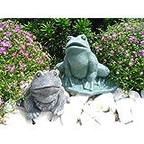 Steinfigur Frosch 2er Set, Gartenfigur Steinguss Tierfigur Basaltgrau, Grün Patina