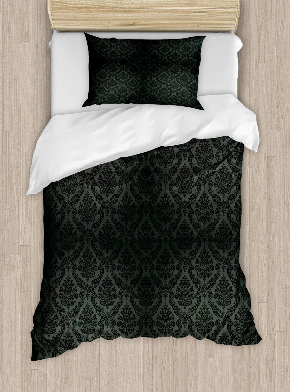 Ambesonne Dark Grey Duvet Cover Set, Damask Motifs Victorian Vintage Revival Design Elements Medieval Baroque, Decorative 2 Piece Bedding Set with 1 Pillow Sham, Twin Size, Black Grey