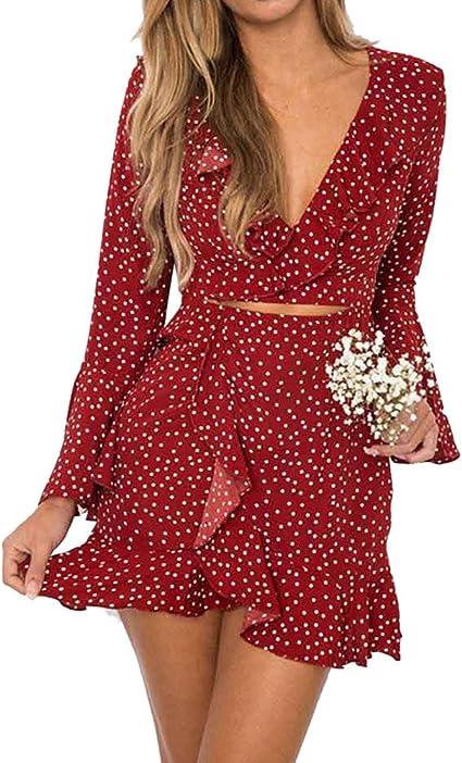 Janly Sommer Kleider Vintage Ruschen Maxi Kurz Kleid Fur Frau Sexy V Ausschnitt Dot Gedruckt Strand Sundress Damen Hyf 98 Rot Xl Amazon De Sport Freizeit