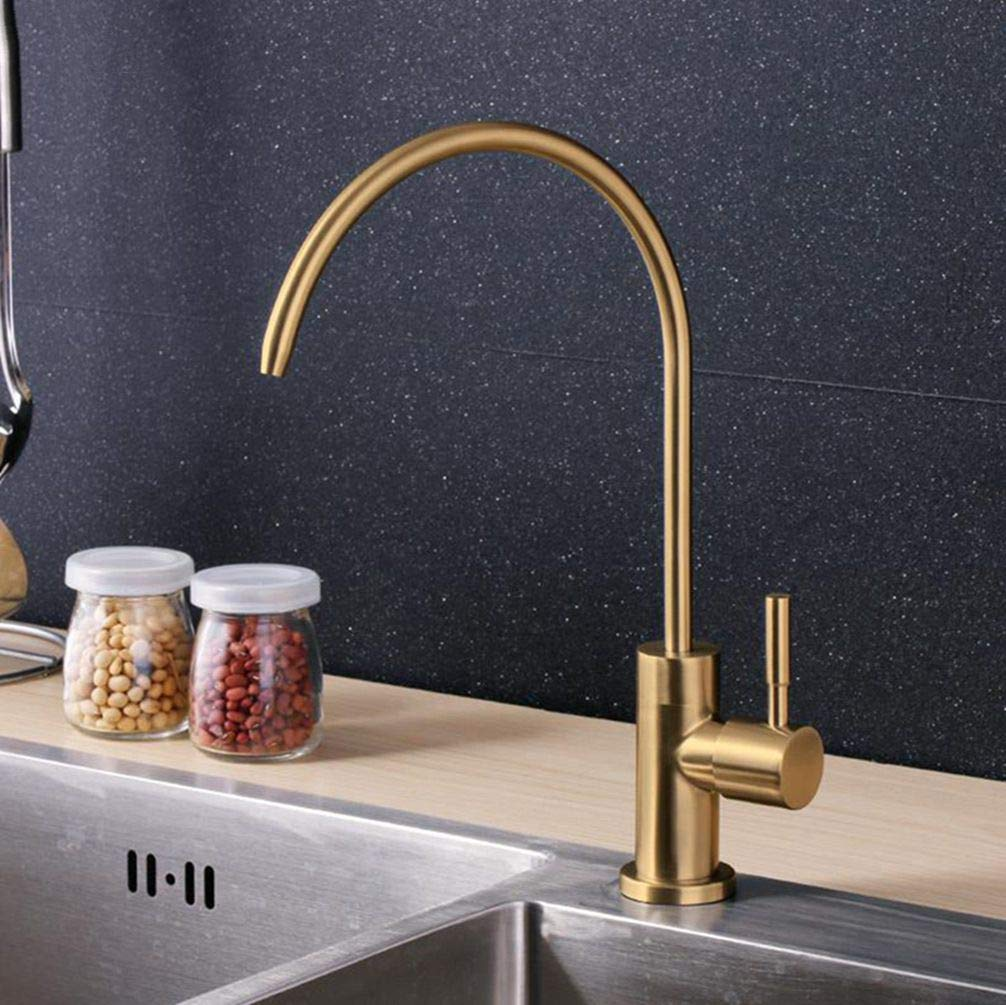 FZHLR Golden/Black/White Luxury Kitchen Drinking Water Filter Tap For Sink Single Cold Water Faucet Single Holder Single Hole,Gold 1