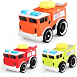 "Fire Truck Toy with Lights and Sounds, 5.9"" Friction Powered Car Fire Engine Truck with 3 Traffic Roadblock and 1 Traffic Lig"