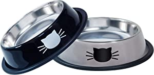 JOCHA cat Food Water Bowl Set for Food and Water Indoor Cats Stainless Steel Basic cat Small Dog pet Feeding Bowls Non-Slip Easy to Clean with Removable Rubber Base Cute Cats Painted (Black+Grey)